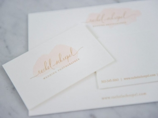 Letterpress gold foil stamp and watercolor embellishments on business cards, stationery for a one-of-a-kind finish. Printed on Crane Lettra 220#. Set on Marble background