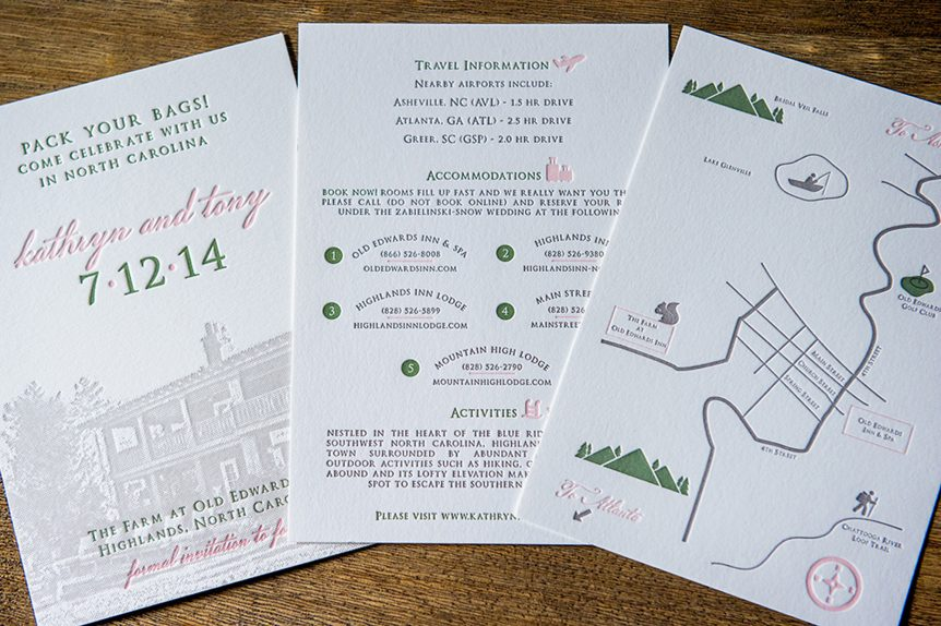 Letterpress save the date 3-piece announcement that is bound by green and white baker's twine. lined envelope